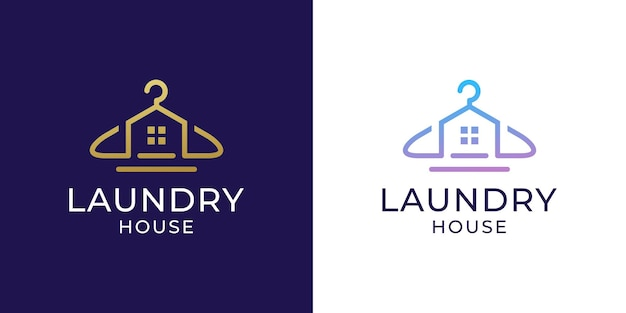 옷걸이 디자인의 세탁소 로고