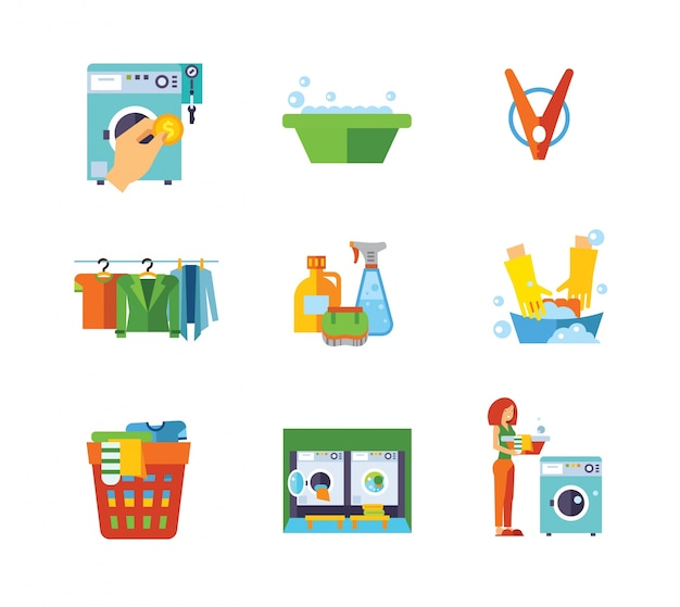 Laundry icon collection