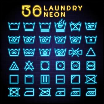 Laundry icon neon set neon light glowing