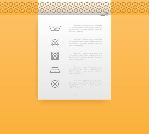 Laundry icon set on tag illustration