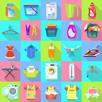 Laundry icon set.