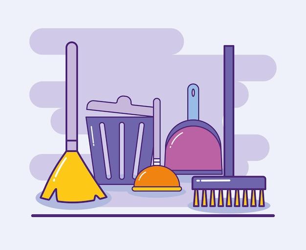 Laundry icons illustration