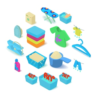Laundry icons set, isometric style