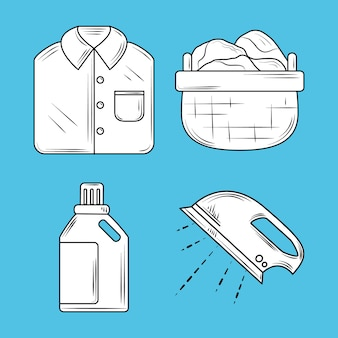 Laundry, icons set with ironing shirt basket and detergent