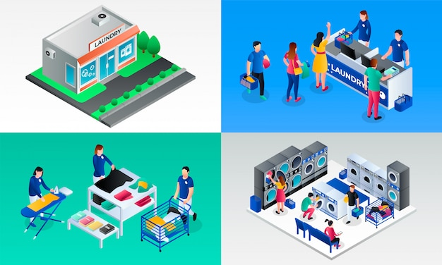 Laundry illustration set. isometric set of laundry