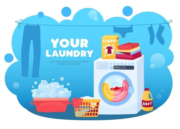 Иллюстрация прачечной с составом сушки одежды, силуэты стиральной машины и пены с пузырьками и корзинами