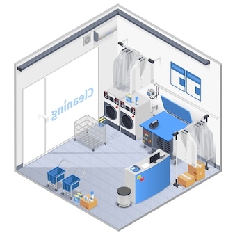 Laundry interior isometric composition