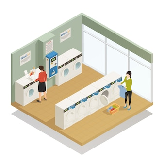 Laundry isometric composition