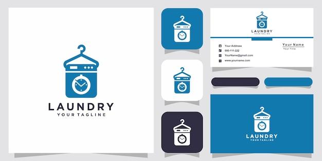 Прачечная логотип и дизайн визитной карточки