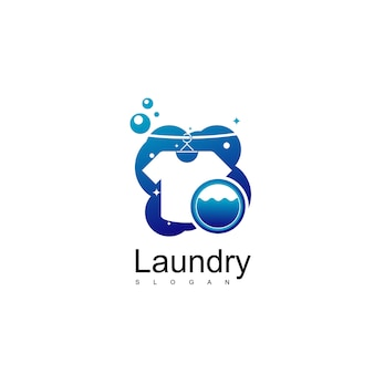 Laundry logo design vector