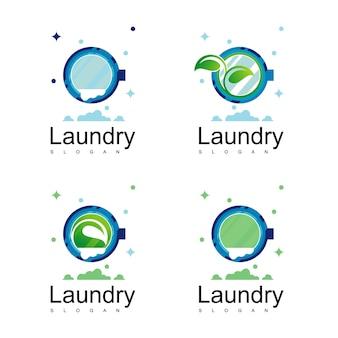 세탁 로고 디자인 벡터