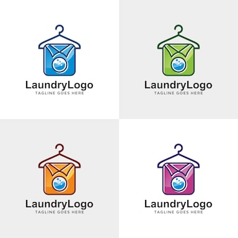 Laundry logo design with option color