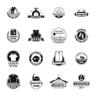 Laundry logo service icons set