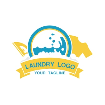 Laundry logo template with iron and shirt