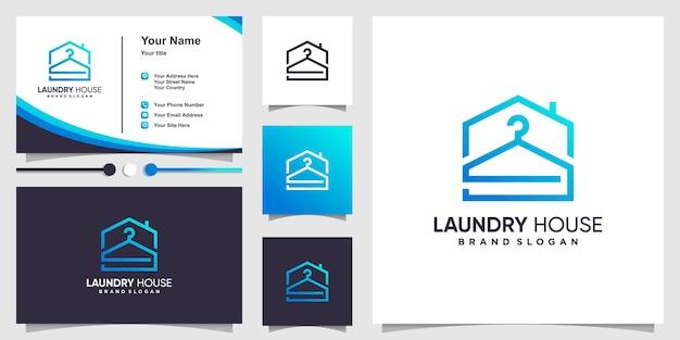 현대적인 개념과 명함 디자인으로 된 세탁 로고 템플릿 premium vector