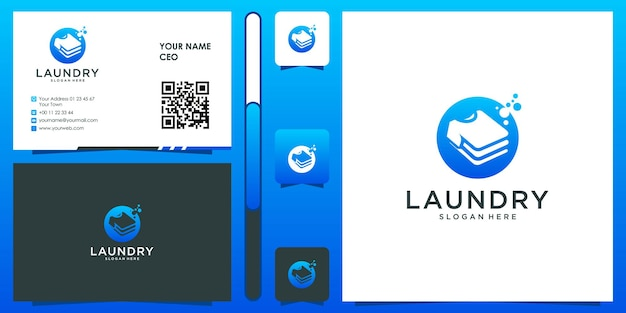 Laundry logo with business card design vector premium