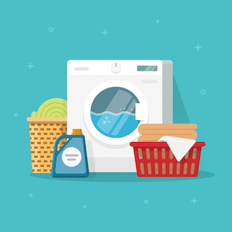 Laundry machine with washing clothing and linen vector illustration in flat carton style