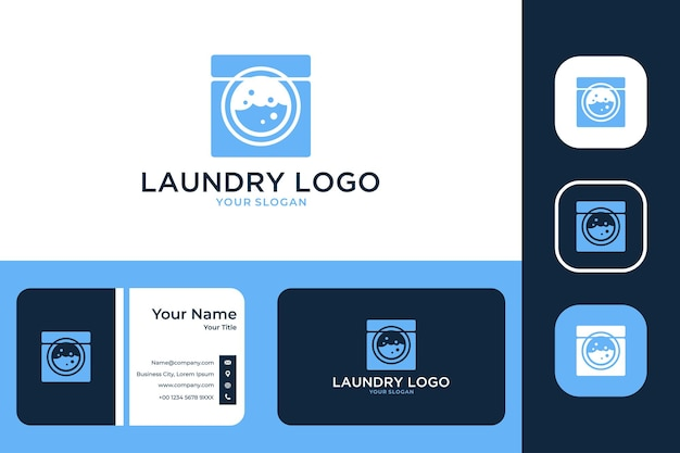 Laundry modern logo design and business card