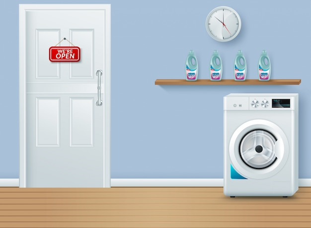 Laundry room on blue