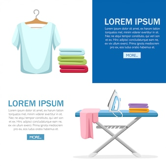 Laundry room concept. blue ironing board, white iron, pile of towels and ironed t-shirt.  cartoon illustration on white background. web site page and mobile app