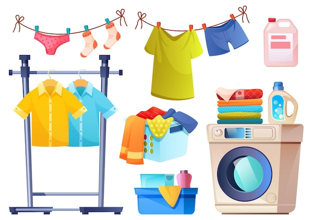 Laundry room equipment for wash and dry clothes  cartoon set of washing machine basket detergent in bottles powder and rope with hanging underwear and shirts isolated on white wall