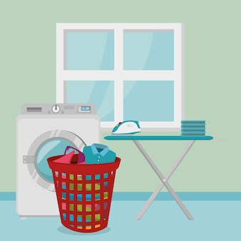 Laundry room flat icons