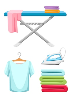 Laundry room icon collection. blue ironing board, white iron, pile of towels and ironed t-shirt.  cartoon illustration  on white background