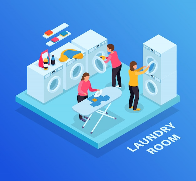 Laundry room isometric background with text and washing machines row ironing board and female human characters