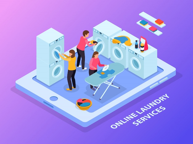 Laundry room isometric composition with conceptual image of tablet and laundry equipment with people on touchscreen