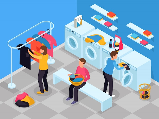 Laundry room isometric composition with indoor view of laundry room with washing machines detergents and people