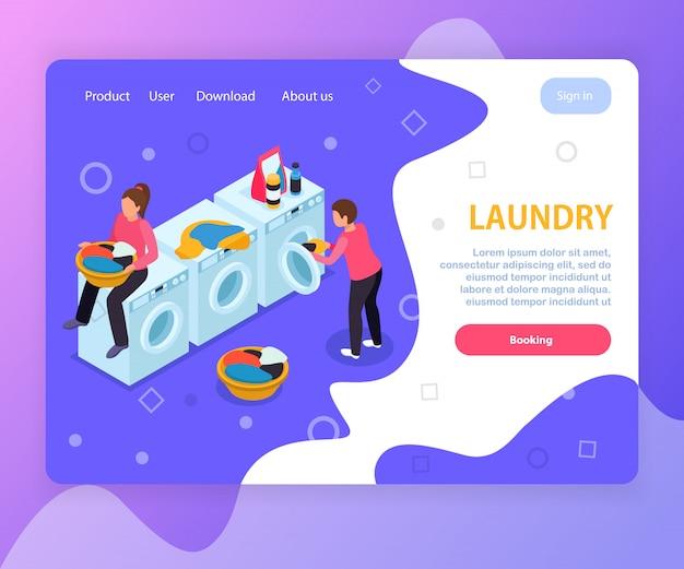Прачечная комната изометрической дизайн сайта целевой страницы со стиральными машинами людей редактируемый текст и кликабельные ссылки