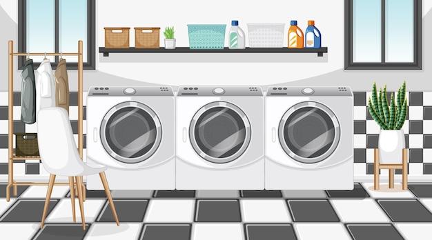 세탁기와 옷걸이가 있는 세탁실 장면