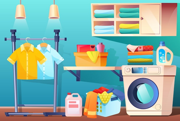 Прачечная с чистой или грязной одеждой и оборудованием и мебелью, ванная комната с вещами, корзина для стиральной машины с грязным бельем, полка для полотенец и моющих средств.