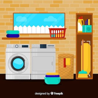Laundry room with flat design
