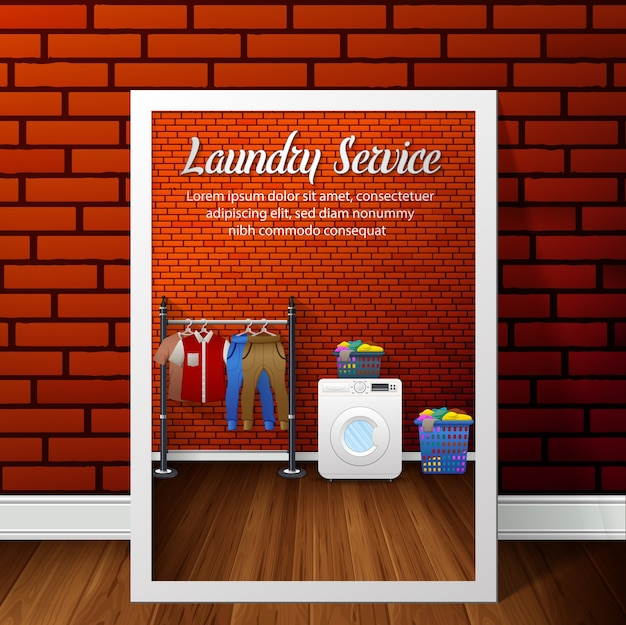 Laundry service banner design on brick wall background