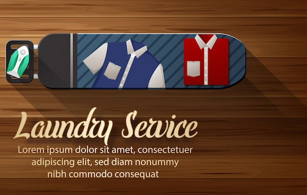 Laundry service banner template with laundry room view