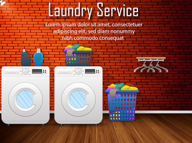 Laundry service banner with laundry room view flat design