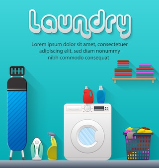 Laundry service banner with laundry room view