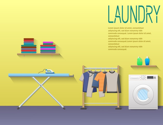 Laundry service banner with washing machine