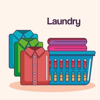 세탁 서비스 깨끗한 파일 천 바구니 셔츠 접혀
