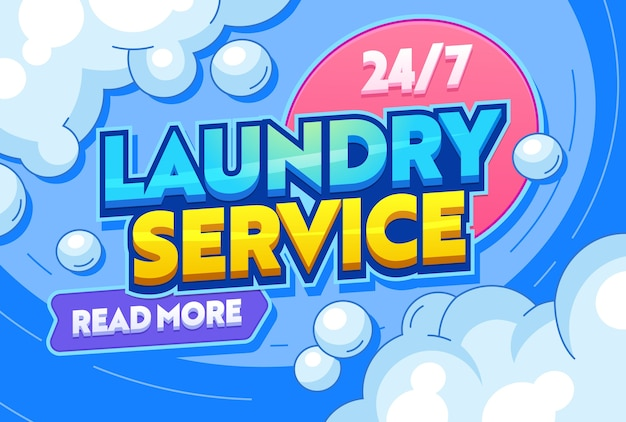 Laundry service dry clothing textiles typography banner. washing water containing detergents or other chemical, agitation, rinsing and pressing in communal setting. flat cartoon vector illustration