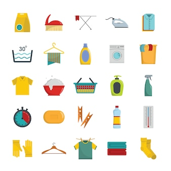 Laundry service icons set