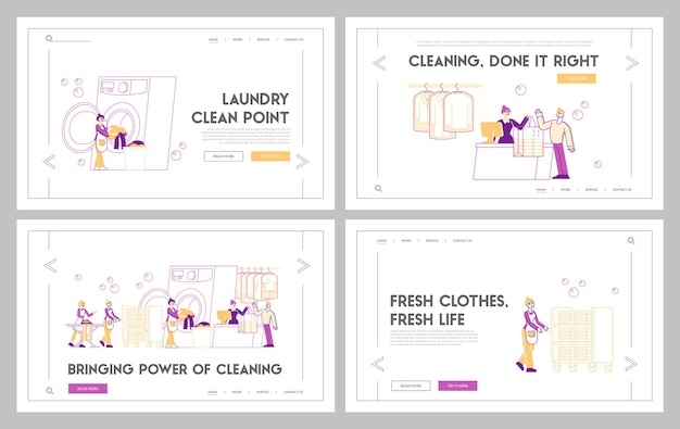 Laundry service landing page template set