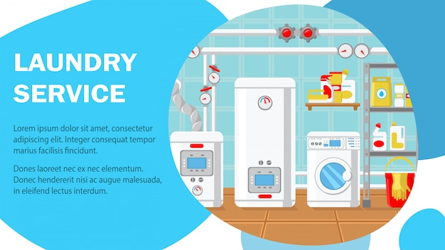 Laundry service website banner vector template.