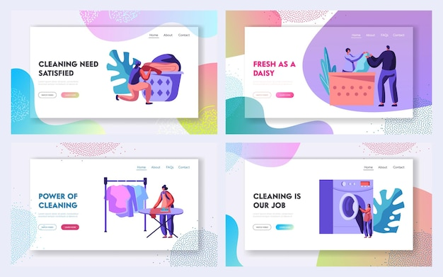 Laundry service website landing page templates set. website landing page template