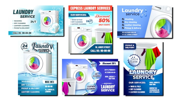 Laundry services advertising flyer set