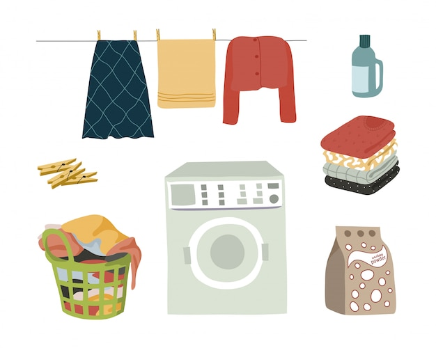 Laundry set isolated elements on white