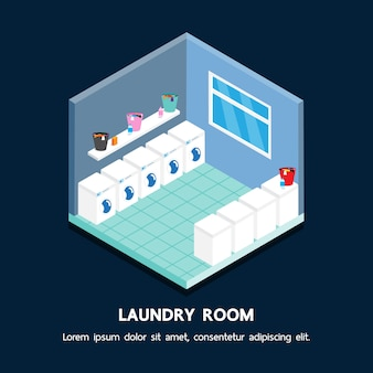 Laundry shop isometric vector perspective design.
