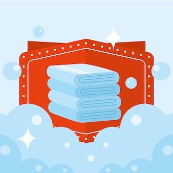 파란색 배경에 거품이 있는 세탁 수건