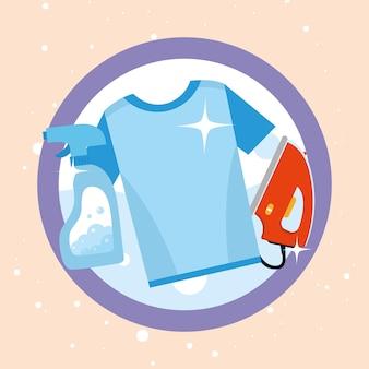 인감 스탬프에 세탁 tshirt 세제 스프레이와 다리미
